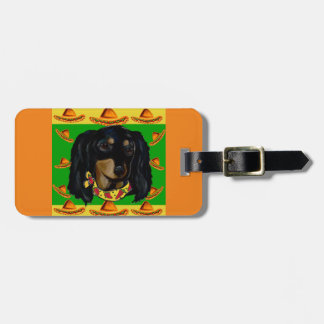 Cinco de Mayo Long Haired Black  Doxie Luggage Tag