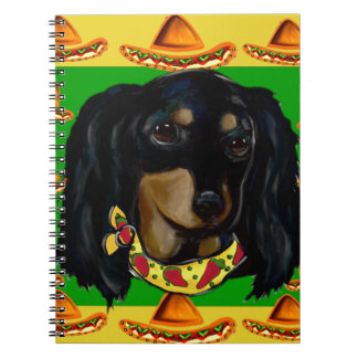 Cinco de Mayo Long Haired Black  Doxie Spiral Notebook