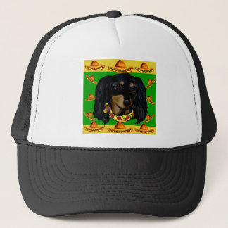Cinco de Mayo Long Haired Black  Doxie Trucker Hat