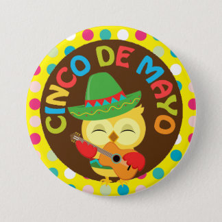 Cinco de Mayo Owl with Guitar 7.5 Cm Round Badge