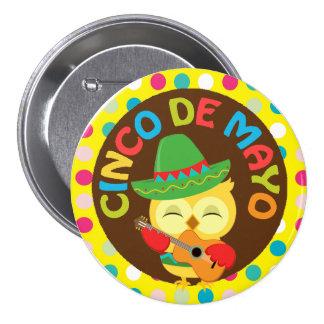 Cinco de Mayo Owl with Guitar 7.5 Cm Round Badge