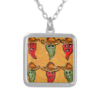 Cinco de Mayo Peppers Silver Plated Necklace