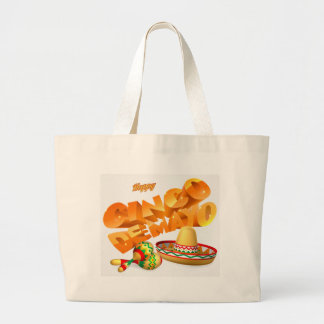 Cinco De Mayo Sign Large Tote Bag
