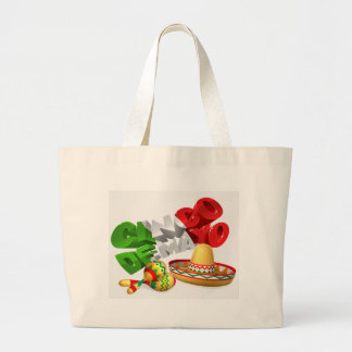 Cinco De Mayo Sign With Sombrero and Maracas Large Tote Bag