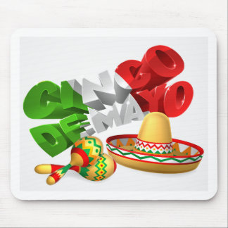 Cinco De Mayo Sign With Sombrero and Maracas Mouse Pad
