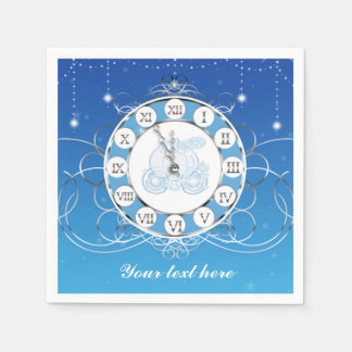 Cinderella Almost Midnight Silver & Blue Party Disposable Napkins