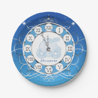 Cinderella Almost Midnight Silver & Blue Party Paper Plate