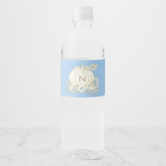 Cinderella Blue Gold Princess Carriage Party Water Bottle Label