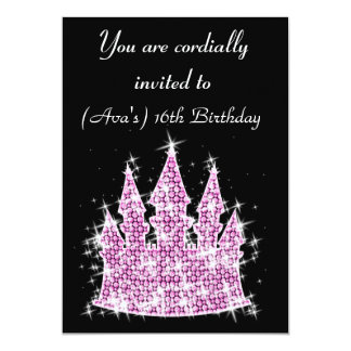 Cinderella Castle Rhinestone Birthday/Sweet 16 Card