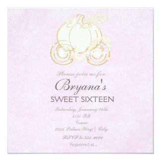 Cinderella Gold Carriage Pink Princess Invitation