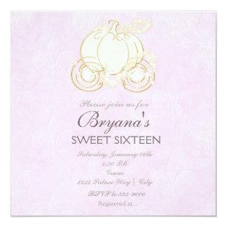 Cinderella Gold Carriage Pink Princess Invitation
