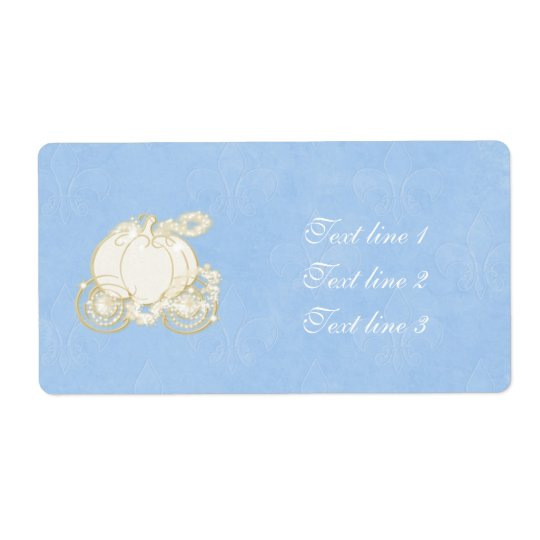 Cinderella Gold Carriage Princess Blue Label Shipping Label