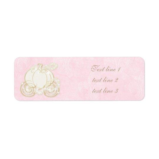 Cinderella Pink Gold Carriage Royal Address Labels