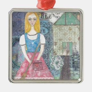 Cinderella Silver-Colored Square Decoration