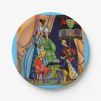 Cinderella, the prince and the glass slipper paper plate