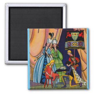 Cinderella, the prince and the glass slipper square magnet