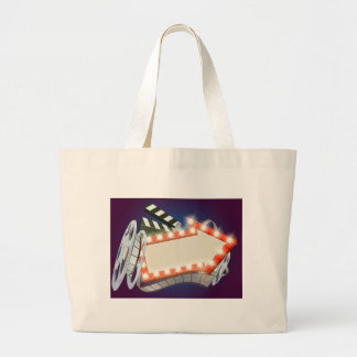 Cinema Film Arrow Sign Background Large Tote Bag