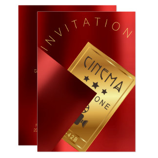 Cinema Film Festival Event Metal Red Ruby Gold Card