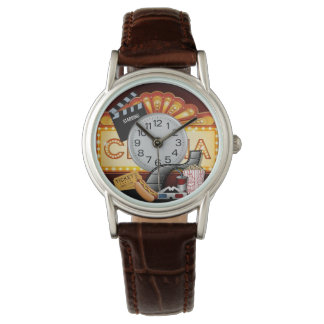 cinema marquee leather watch