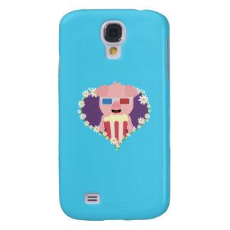 Cinema Pig with flower heart Q1Q Samsung Galaxy S4 Cases