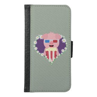 Cinema Pig with flower heart Samsung Galaxy S6 Wallet Case