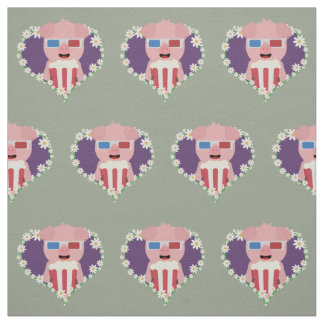 Cinema Pig with flower heart Zvf1w Fabric