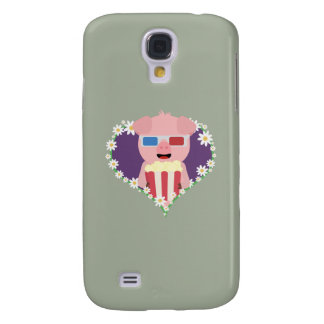 Cinema Pig with flower heart Zvf1w Galaxy S4 Covers