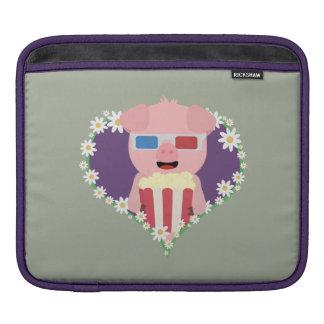 Cinema Pig with flower heart Zvf1w iPad Sleeve