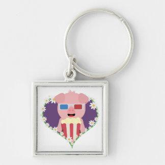 Cinema Pig with flower heart Zvf1w Key Ring