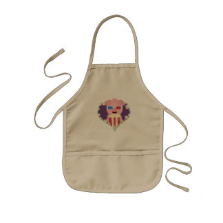 Cinema Pig with flower heart Zvf1w Kids Apron