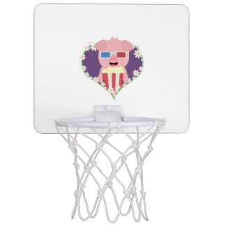 Cinema Pig with flower heart Zvf1w Mini Basketball Hoop