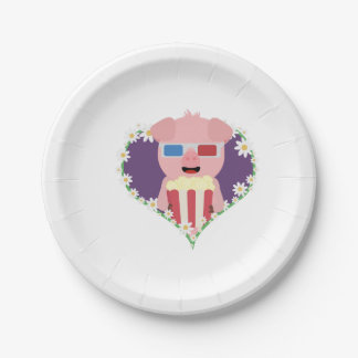 Cinema Pig with flower heart Zvf1w Paper Plate