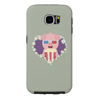 Cinema Pig with flower heart Zvf1w Samsung Galaxy S6 Cases
