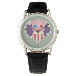 Cinema Pig with flower heart Zvf1w Watch