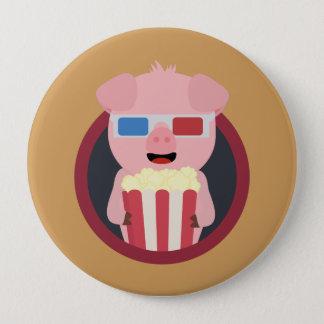 Cinema Pig with Popcorn Zpm09 10 Cm Round Badge
