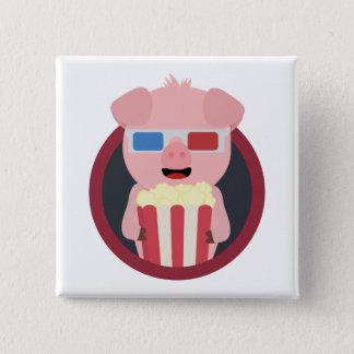 Cinema Pig with Popcorn Zpm09 15 Cm Square Badge