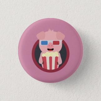 Cinema Pig with Popcorn Zpm09 3 Cm Round Badge