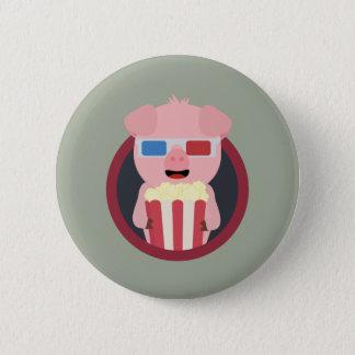 Cinema Pig with Popcorn Zpm09 6 Cm Round Badge