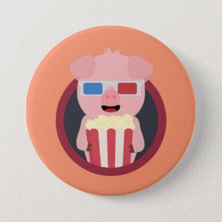Cinema Pig with Popcorn Zpm09 7.5 Cm Round Badge