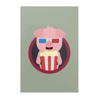 Cinema Pig with Popcorn Zpm09 Acrylic Wall Art