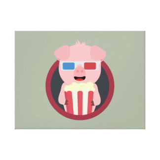 Cinema Pig with Popcorn Zpm09 Canvas Print