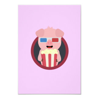 Cinema Pig with Popcorn Zpm09 Card