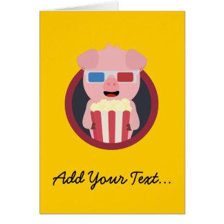 Cinema Pig with Popcorn Zpm09 Card