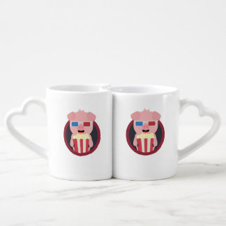 Cinema Pig with Popcorn Zpm09 Coffee Mug Set