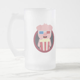 Cinema Pig with Popcorn Zpm09 Frosted Glass Beer Mug
