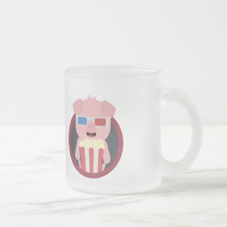 Cinema Pig with Popcorn Zpm09 Frosted Glass Coffee Mug