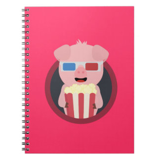 Cinema Pig with Popcorn Zpm09 Notebooks