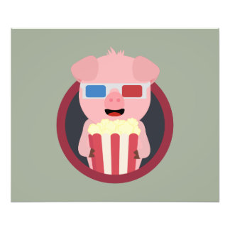 Cinema Pig with Popcorn Zpm09 Photograph