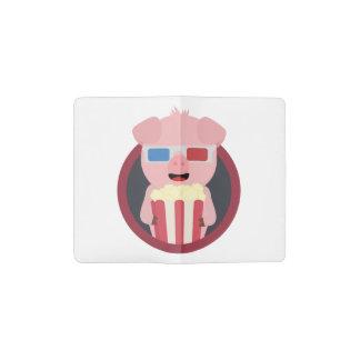 Cinema Pig with Popcorn Zpm09 Pocket Moleskine Notebook