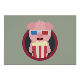 Cinema Pig with Popcorn Zpm09 Poster